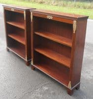Pair Antique Style Mahogany Open Bookcases